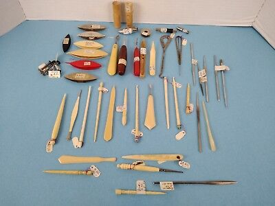 Vintage Craft Tools Lot - Stitching Sewing Rug Hook Knitting Etc Estate Lot
