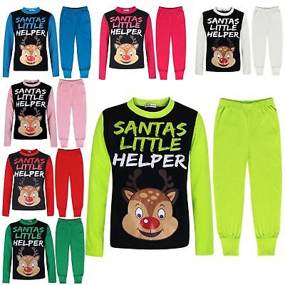 Kids Girls Boys Pyjamas Santas Little Helper Reindeer Contrast Sleeves Xmas PJS