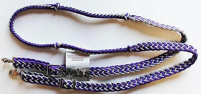 Knotted Horse Tack Western Barrel Reins Nylon Braided Silver Purple Bling 607474