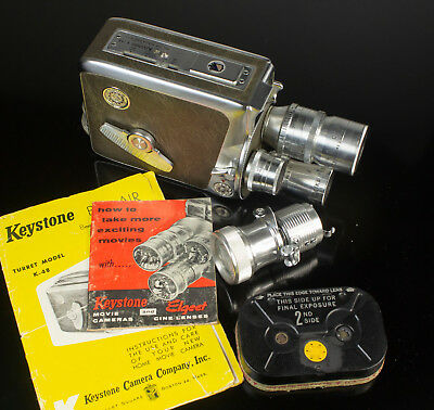 Working Keystone K-48 Bel Air 3 Lenses 8mm Movie Camera w/ film cartridge & more