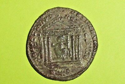 Maxentius 306 AD ancient ROMAN COIN temple old Rome goddess Roma vf nice antique