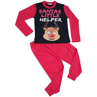 Kids Girls Pyjamas Santas Little Helper Reindeer Pink Contrast Sleeves Xmas PJ'S
