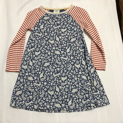Girl Age 4-5 Mini Boden BUNNY RABBIT RED STRIPES Long Sleeve Pullover Knit Dress
