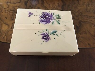 Christmas Gift Antique Bakerlite? Hand Painted Trinket Box With Handkerchiefs