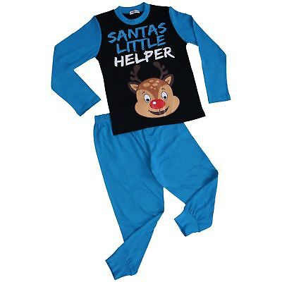 Kids Boys Girls Pyjamas Santas Little Helper Blue Contrast Sleeves Xmas PJS 2-13