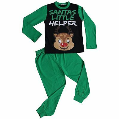 Kids Boys Girls Pyjamas Santa Little Helper Green Contrast Sleeves Xmas PJS 2-13