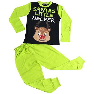 Kids Boys Girls Pyjamas Santas Little Helper Lime Contrast Sleeves Xmas PJS 2-13