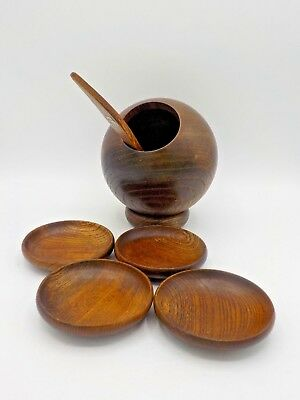 Vtg Mid Century Modern Wood Nut Bowl Serving Set Pedestal Bowl Scoop Trays Apco
