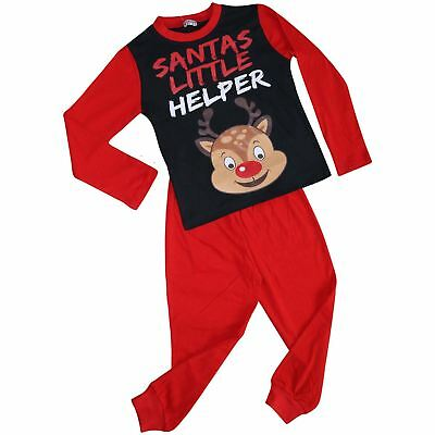 Kids Girls Boys Pyjamas Santas Little Helper Red Contrast Sleeves Xmas PJS 2-13Y