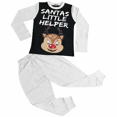 Kids Girls Boys Pyjamas Santa Little Helper White Contrast Sleeves Xmas PJS 2-13