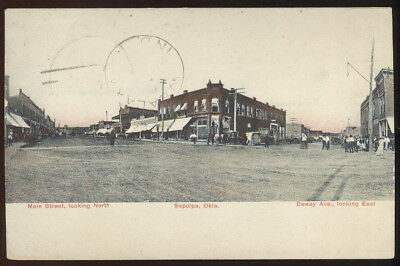 1907 Picture Pc, Main St. Looking North & Dewey Ave. Looking East, Sapulpa, Ok.