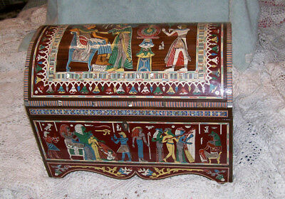 """EGYPTIAN"" style large wood domed chest mother of pearl ancient depiction NICE"