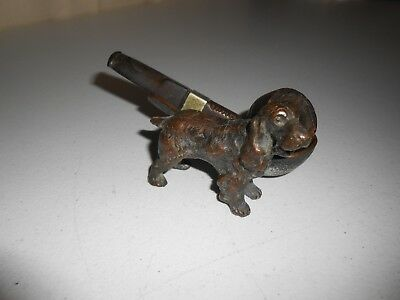 Antique Vintage Dog Figure Metal Pipe Rest Holder Irish Setter Spanial & pipe