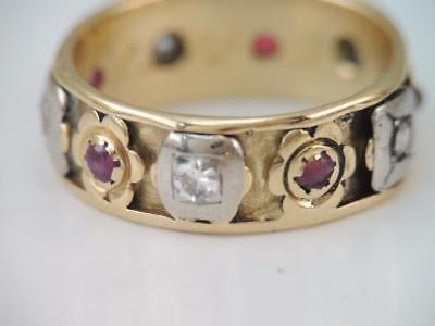 ANTIQUE Art Deco WIDE 14K GOLD DIAMOND & RUBY ETERNITY BAND RING WHITE & YELLOW