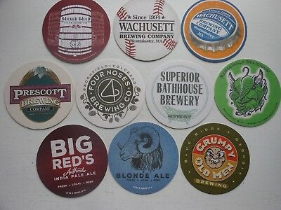 10 diff. CRAFT BEER COASTERS-SUPERIOR BATHOUSE,FOUR NOSES,WICKED WEED,PRESCOTT