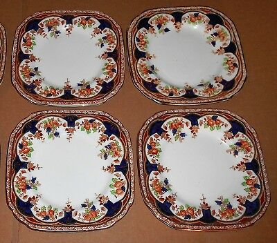 Set of 4 Antique Square Sutherland China Side Plates