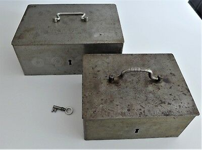 Pair of Vintage or Antique Metal Lockable Safe CASH BOX'S Tooled Detail Original