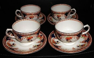 Matching Set of 4 Antique Square Sutherland China Cups & Saucers