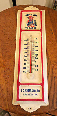 Vintage  Original HAPPY JIM CHEWING Tobacco Advertising Thermometer Sign
