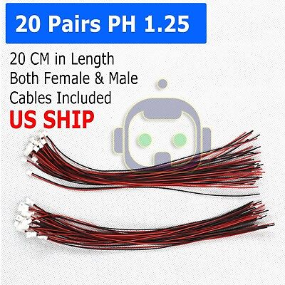 20 Pairs Micro JST PH 1.25 2 PIN MALE FEMALE PLUG CONNECTOR WITH WIRE CABLES