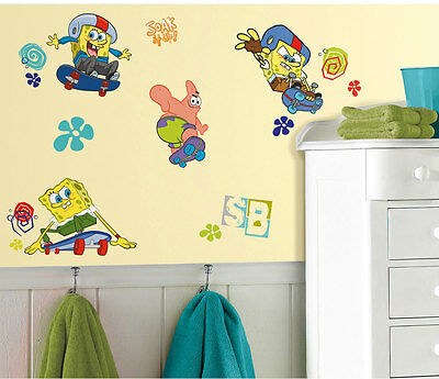 26 Wall Stickers Spongebob Squarepants Sport Skateboard Decor Decals Stick Ups