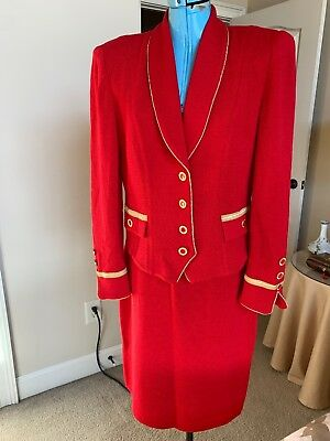 St John Collection Marie Gray Suit Red Suit Gold Metallic Sz 6 Jacket and Skirt