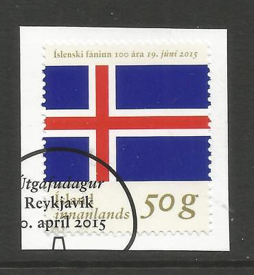 ICELAND 2015  100th ANNIV OF ICELAND FLAG ON A PIECE, SCOTT 1443, USED (o)