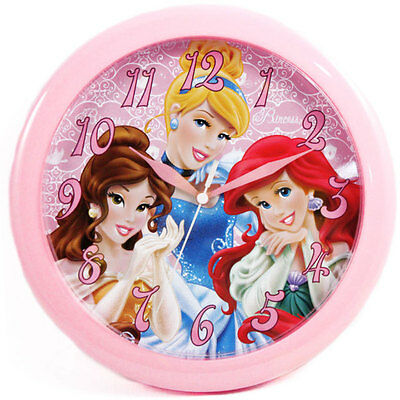 "Wall Clock 10"" Quartz DISNEY PRINCESS Cinderella Ariel Belle Children - Pink"