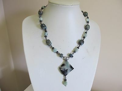 Pretty Polished Stone & Bead Drop Necklace In Green & Black Shades