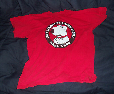 Brian The Dog Family Guy Shirt Red XL - I'm Allergic To Stupid People Aaah-choo.