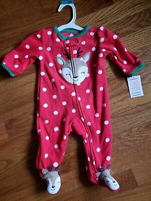 NWT*Infant Girls~~ Embroidered POLKA DOT REINDEER 1pc Pajamas/Outfit~sz NB & 3m