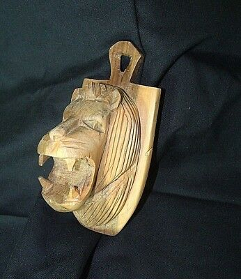 Hand Carved Wooden Muhuhu Wood Lion Head African Kenyan Besmo Wall Decor Plaque