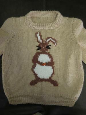Vtg Novelty RABBIT BUNNY COTTONTAIL Childs Hand Knit Tan Sweater Carrot Unisex