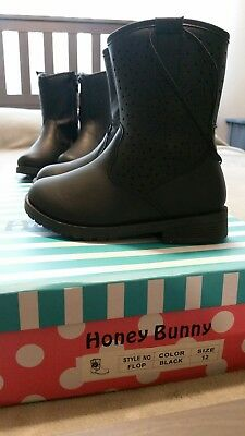 Honey Bunny Black Girl Boots  Girls Size 12 New With Box