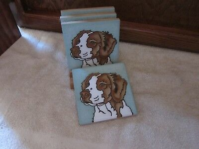 Brittany Spaniel Dog Tile Drink Coasters by Pumpkin Painted Tile - Set of four