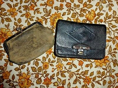Two Antique Victorian Edwardian Small Leather Suede Sovereign / Coin Purses