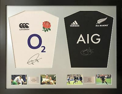 Wilkinson and Lomu Signed Rugby Shirt Display