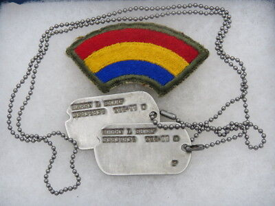 Original Wwii 42Nd Inf Div Patch And Dog Tag Pair/set On Chain