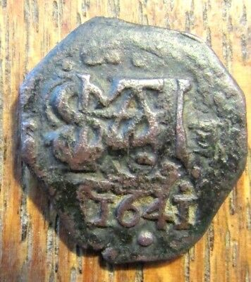 1641 Spanish Colonial Cob Bronze Counter Strike Crown Rx Unusual Script