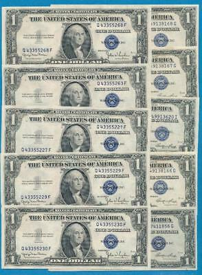 10-$1.00  1935-D + 1935-E Blue Seal Silver Certificates Choice New Dealers Lot