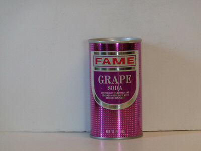Vintage Fame Grape Soda Straight Steel Pull Tab Top Opened Pop Can