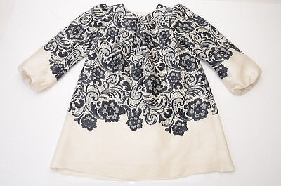 Dolce & Gabbana black white girls 2 floral lace printed a-line dress NEW $1295