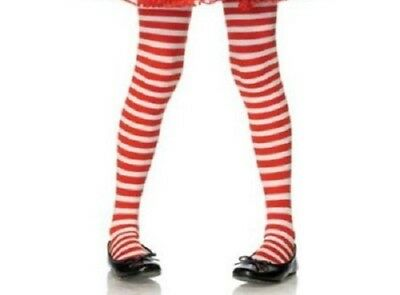 Child Red White Striped Tights Raggedy Rag Doll Christmas Jolly Elf Candy Cane