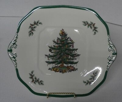 Spode England Christmas Tree Square Cake Plate S3324 R  - Tab Handles - s6d