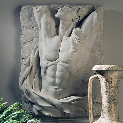 Ancient Greek Roman Male Man Naked Nude Torso Wall Sculpture Frieze Relief