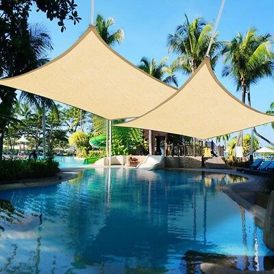 2pcs 16' x 12' Outdoor Patio Rectangle Sun Sail Shade Cover Canopy Top Shelter