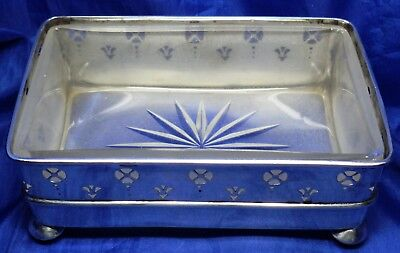 Antique Solid Silver & Frosted Cut Glass Butter Dish By A&j Zimmerman B'ham 1913