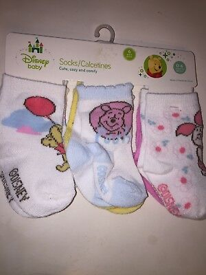 Disney Baby Infant Winnie the Pooh Socks | 6 Pairs | Size 0-6Months #1