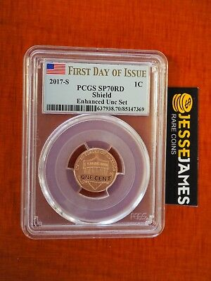 2017 S Enhanced Lincoln Penny Pcgs Sp70 First Day Of Issue Fdi Flag Label Cent