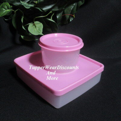 Tupperware New Sheer Square Away Sandwich Keeper & Snack Cup Pastel Pink Seals